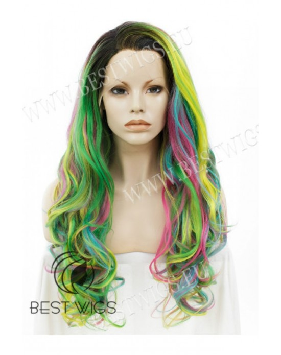 Synthetic lace front wig Wavy mixed long hair / Fantasy collection