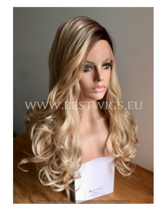 Synthetic lace front wig Wavy blond long hair with dark roots