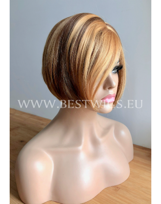 Synthetic lace front wig Stright chestnut medium hair Bob style