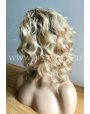 Synthetic lace front wig Curly blond medium hair (dark roots)