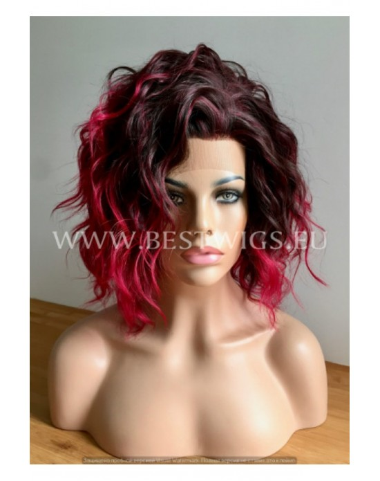 Synthetic lace front wig Curly ruby hair