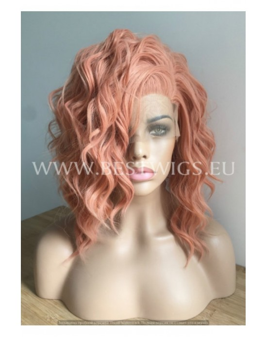Synthetic lace front wig Wavy Peach medium hair