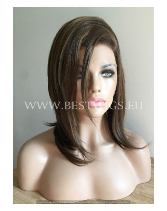 Synthetic lace front wig Stright chestnut medium  hair