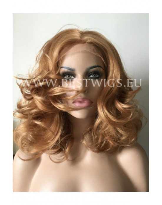 Synthetic lace front wig Wavy chestnut medium hair