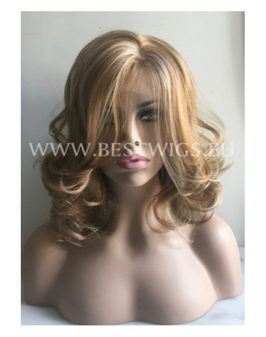 Synthetic lace front wig Wavy chestnut mix medium hair