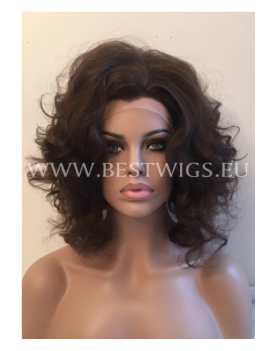 Synthetic lace front wig Wavy chestnut short hair