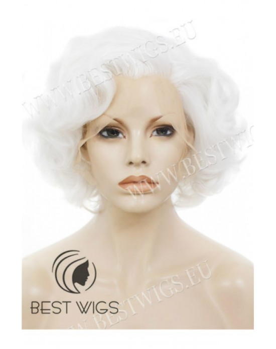 Synthetic lace front wig Wavy blond short hair