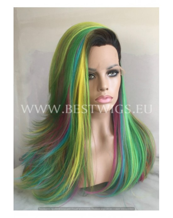 Synthetic lace front wig Straight mixed long hair / Fantasy collection