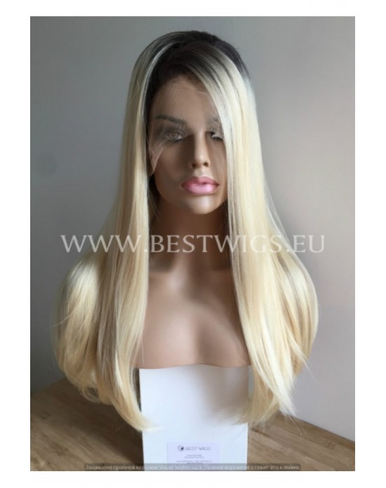 Synthetic lace front wig Stright blond long hair with dark roots