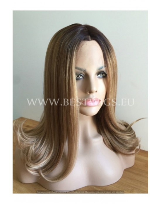 Synthetic Half-lace wig Stright Chestnut hair with dark roots (with part side)