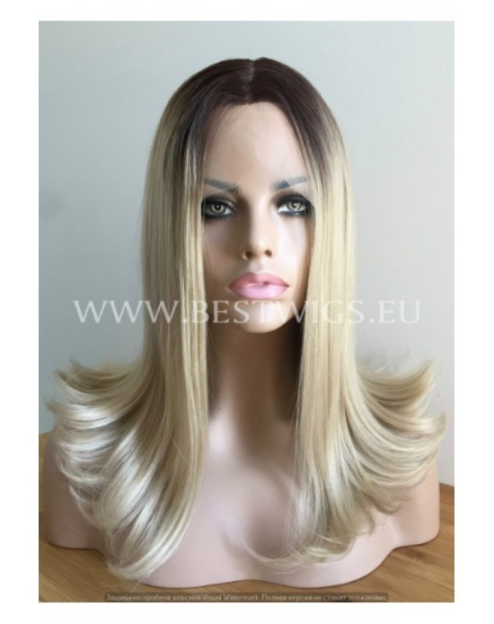 Synthetic Half-lace wig Stright blond hair with dark roots (with part side)