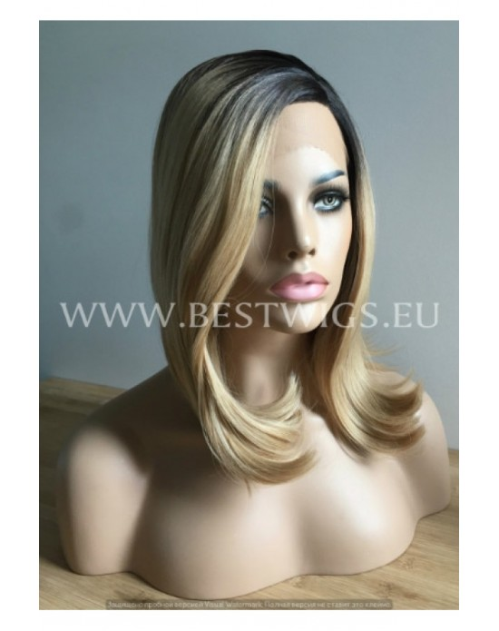 Synthetic Half-lace wig Stright silver long hair with dark roots