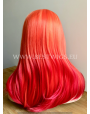Synthetic Half-lace wig Stright Platinum blond'n Ruby hair (with part side)