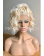Synthetic lace front wig Platinum bob cut with beach waves