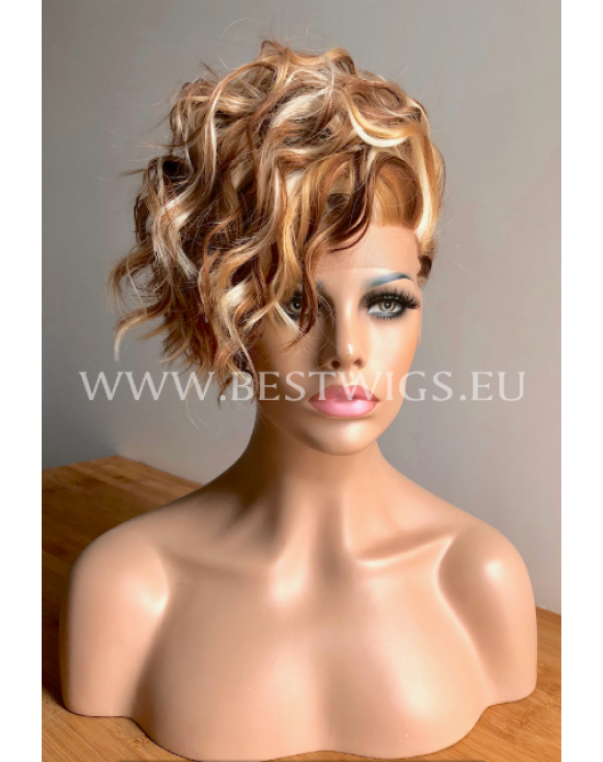 Synthetic lace front wig Wavy chestnut mix short hair