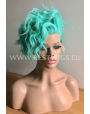 Synthetic lace front wig Wavy Aqua Green short hair