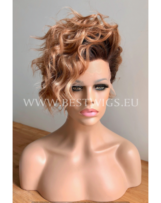 Synthetic lace front wig Curly Brownie Short hair dark roots