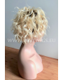 Synthetic lace front wig Curly Blond Short hair dark roots