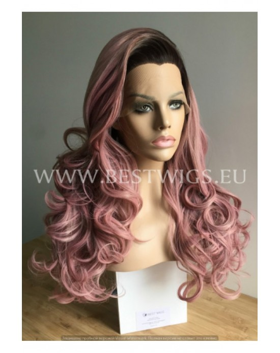 Synthetic Lace Front wig Stright long hair / with dark roots