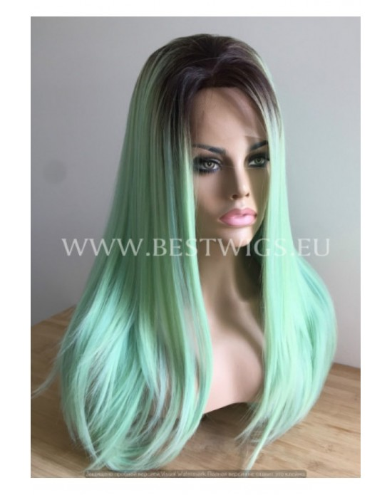Synthetic lace front wig Stright Mint long hair (dark roots)