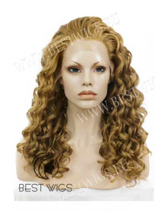 Synthetic lace front wig Curly light chestnut long hair