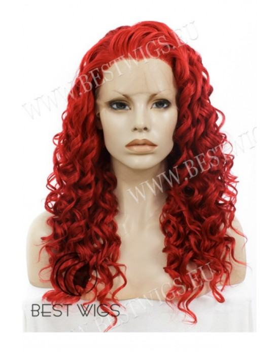 Synthetic lace front wig Curly red long hair