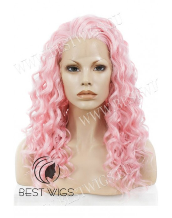 Synthetic lace front wig Curly pink long hair
