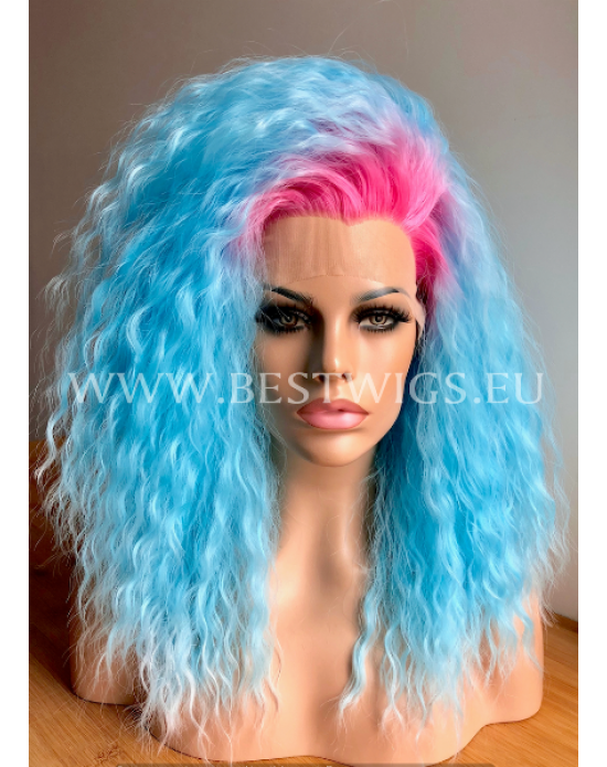 Synthetic lace front wig Curly Blue Ice hair EXTRA VOLUME / Pink roots