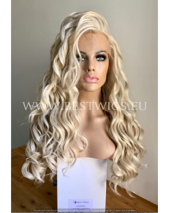 Synthetic lace front wig Wavy blond ash-grey colored long hair