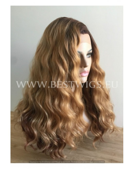 Synthetic lace front wig Curly light chestnut colored long hair Ombre