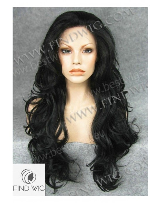 Synthetic lace front wig Curly black long hair