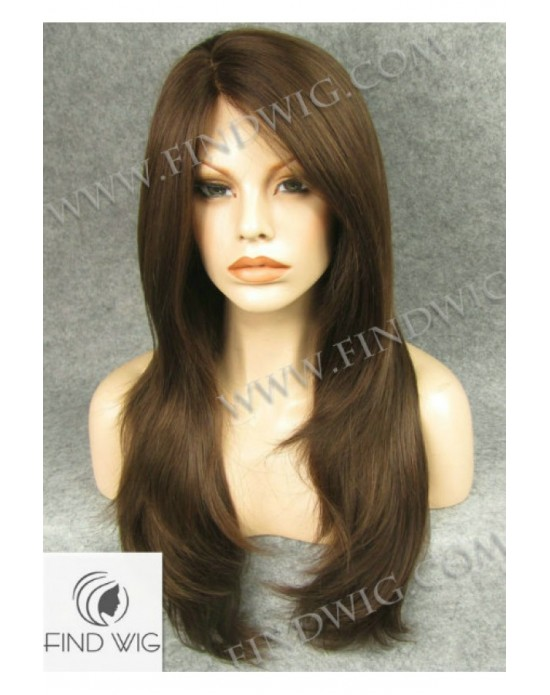 Synthetic lace front wig Stright chestnut long hair