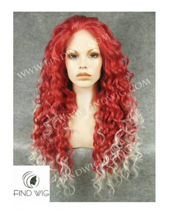 Synthetic lace front wig Curly red mixed long hair