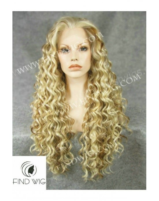 Synthetic lace front wig Curly blond mixed long hair
