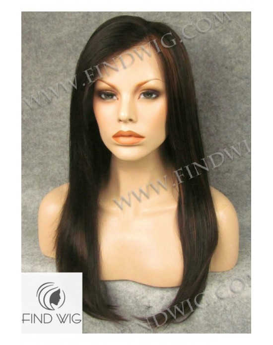 Synthetic lace front wig Stright chestnut mixed long hair