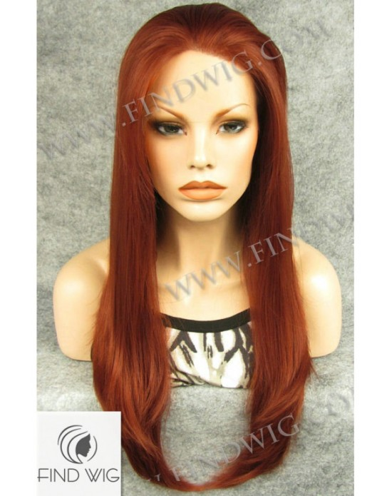 Synthetic lace front wig Stright red long hair