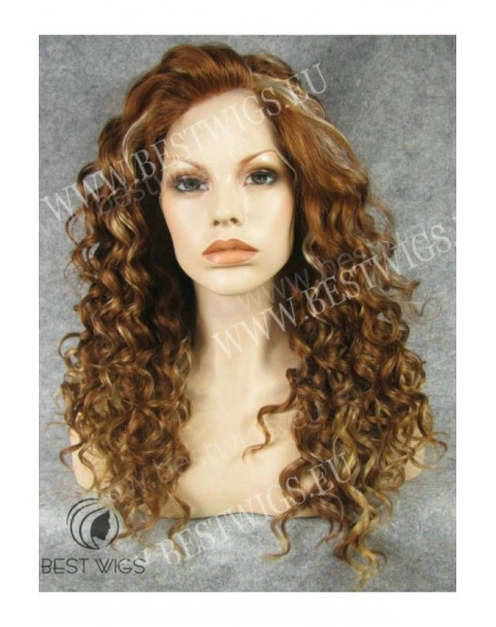Synthetic lace front wig Curly chestnut mixed long hair - Shakira style