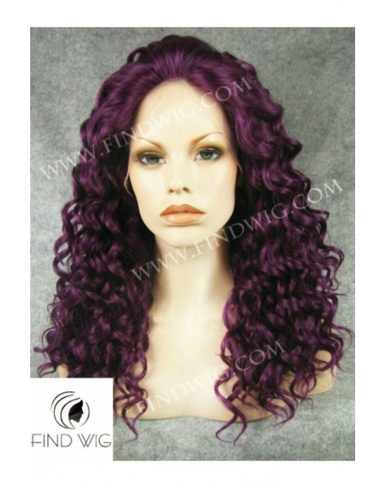 Synthetic lace front wig Curly lilac long hair