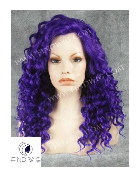 Synthetic lace front wig Curly bleue long hair