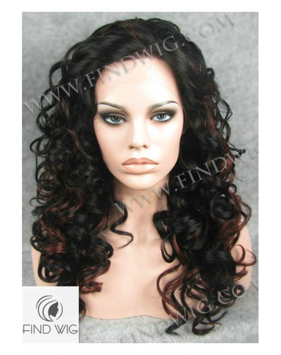Synthetic lace front wig Curly brown mixed long hair