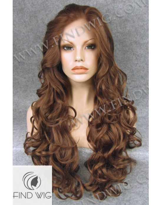 Synthetic lace front wig Wavy chestnut long hair