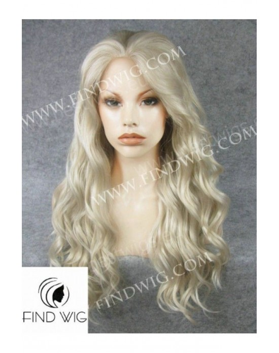 Synthetic lace front wig Wavy ash-grey colored long hair