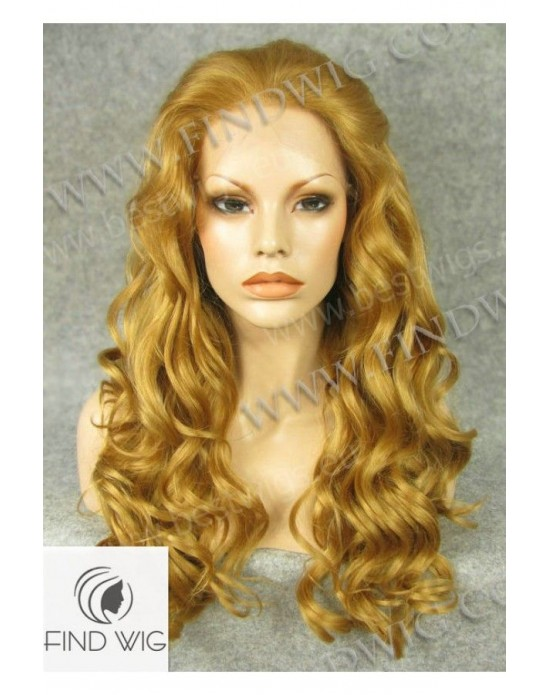 Synthetic lace front wig Wavy blond gold colored long hair