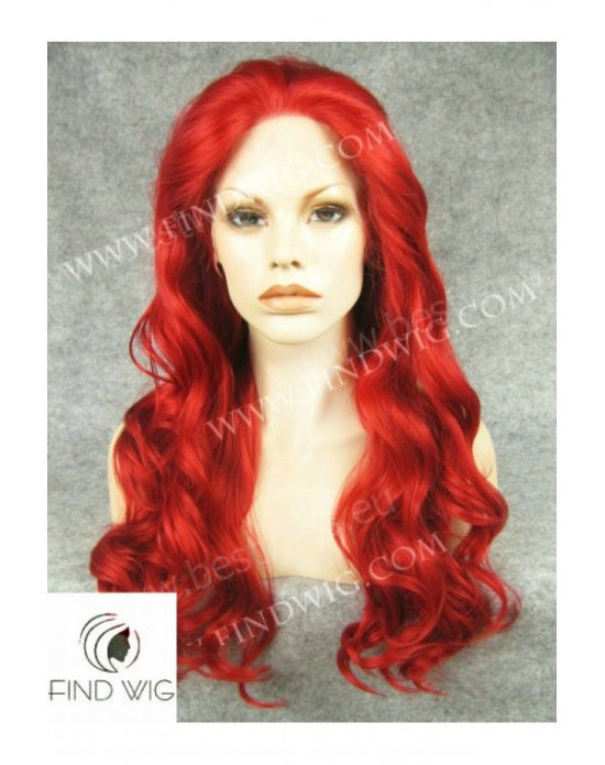 Synthetic lace front wig Wavy red long hair