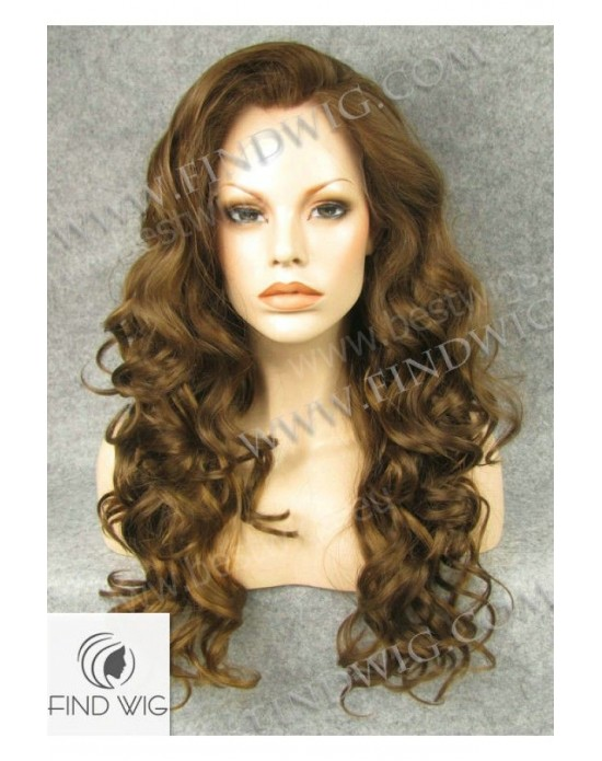 Synthetic lace front wig Curly chestnut colored long hair