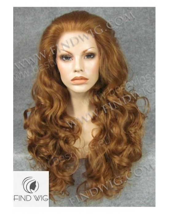 Synthetic lace front wig Curly light chestnut colored long hair