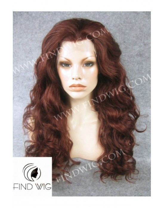 Synthetic lace front wig Curly light red long hair