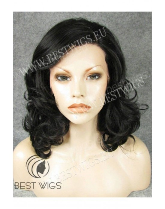 Synthetic lase front wig Wavy brown medium hair