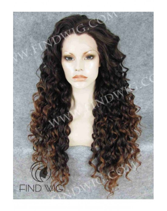 Synthetic lace front wig Curly chestnut long hair dark roots