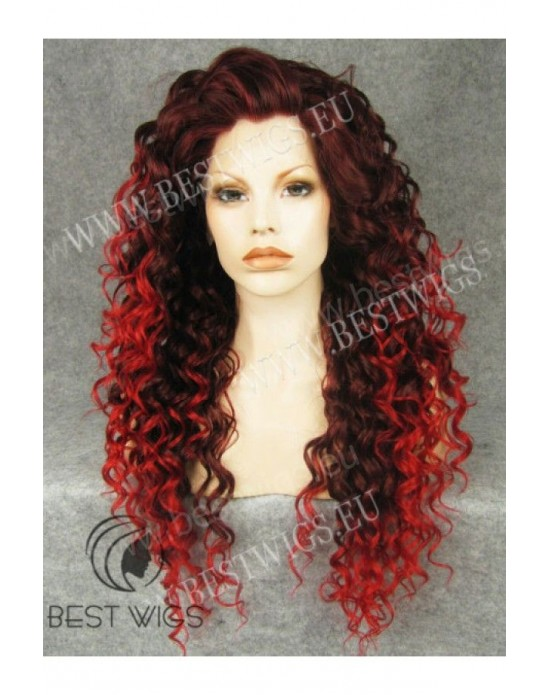 Synthetic lace front wig Curly red long hair dark roots